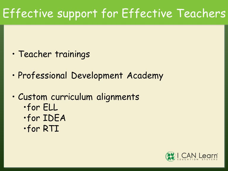 Effective support for Effective Teachers