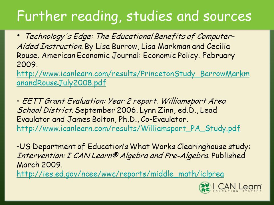 Further reading, studies and sources