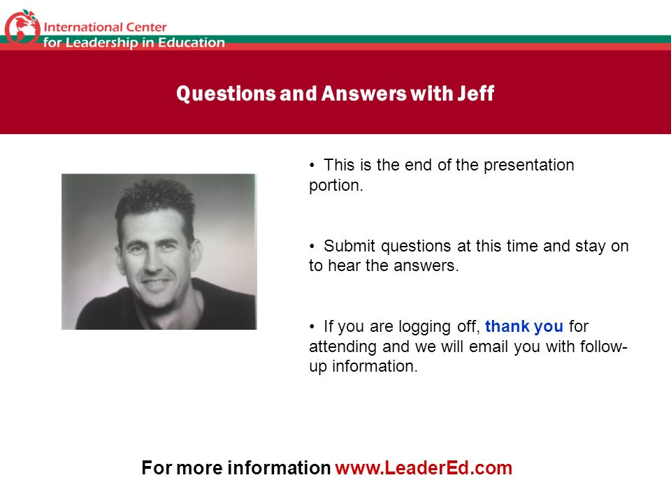 Questions and Answers with Jeff