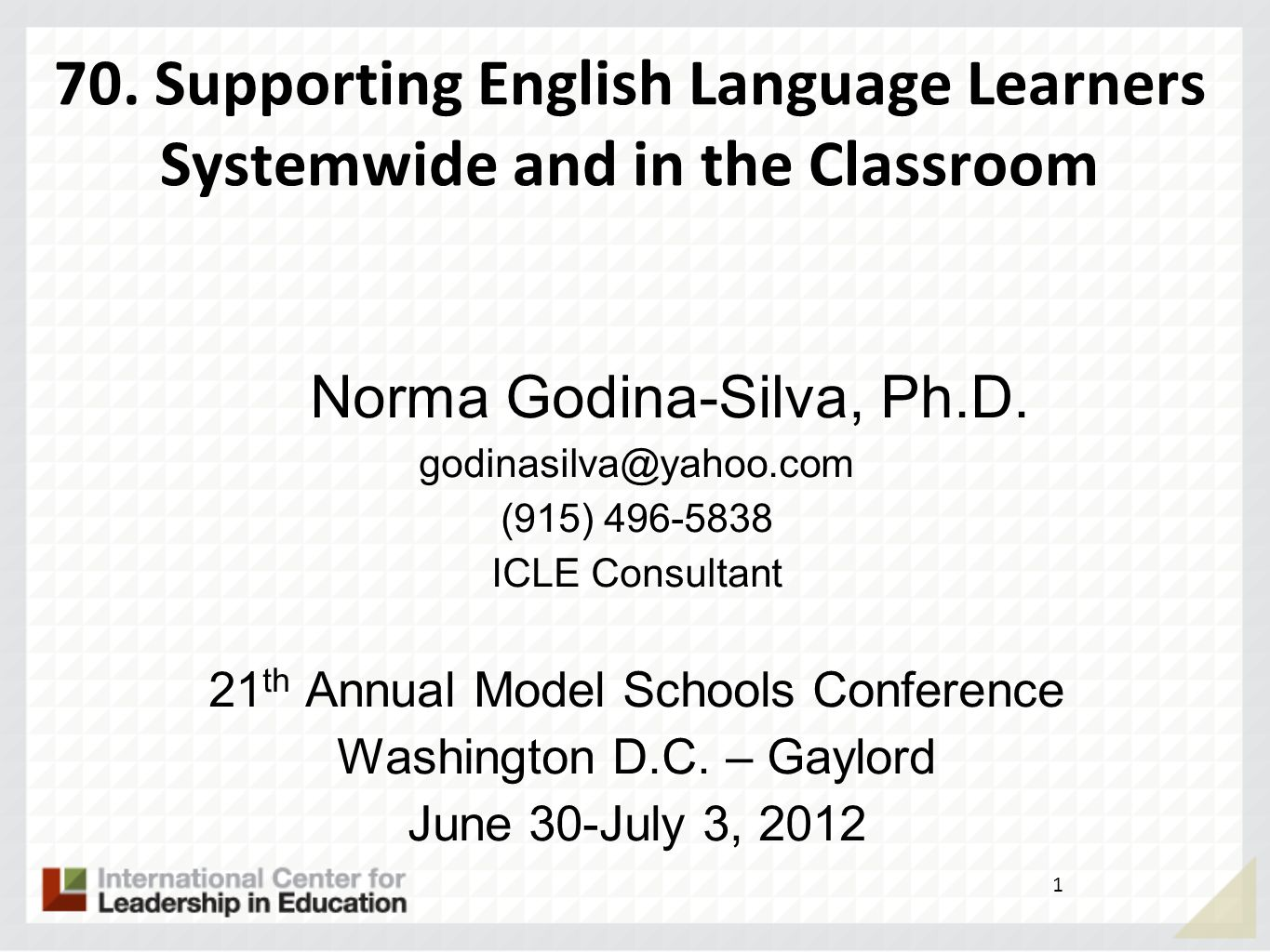 70. Supporting English Language Learners Systemwide and in the Classroom