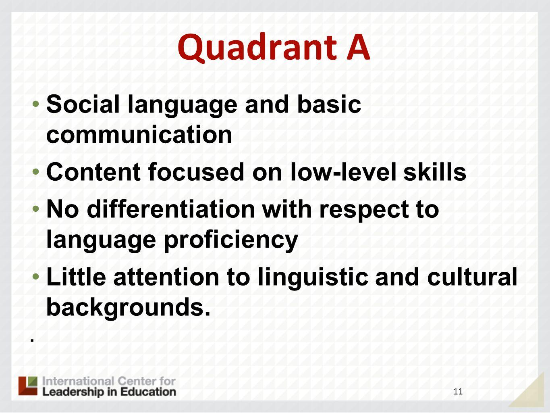 Quadrant A Social language and basic communication