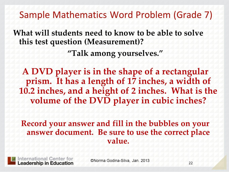 Sample Mathematics Word Problem (Grade 7)