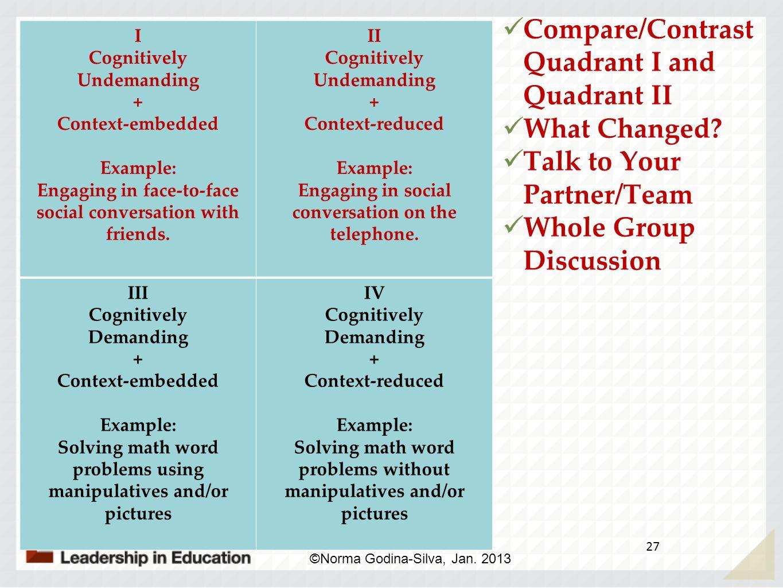 Compare/Contrast Quadrant I and Quadrant II