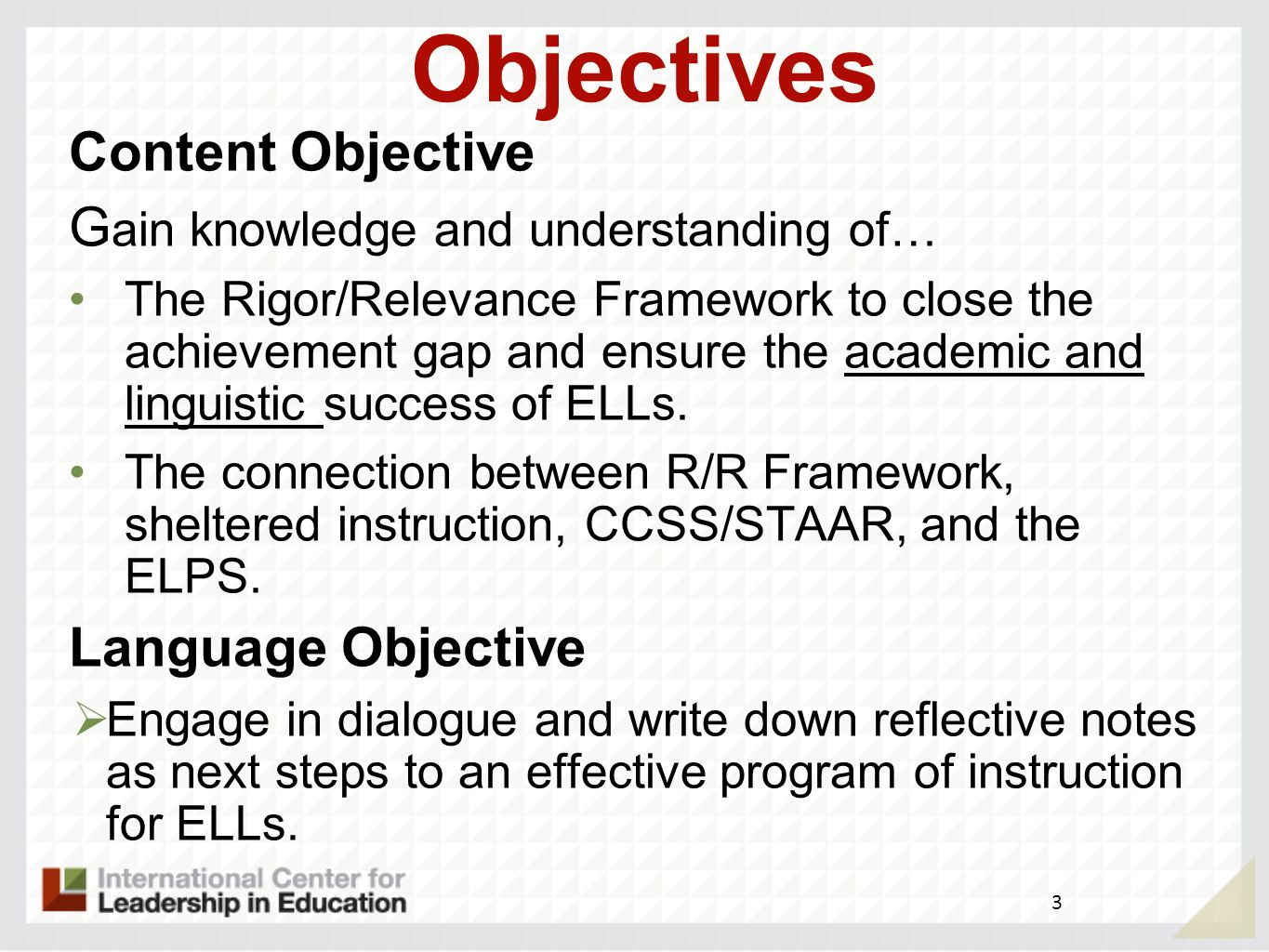 Objectives Content Objective Gain knowledge and understanding of…