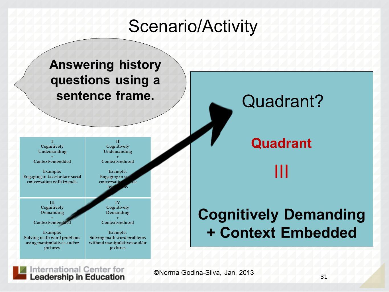 III Scenario/Activity Quadrant