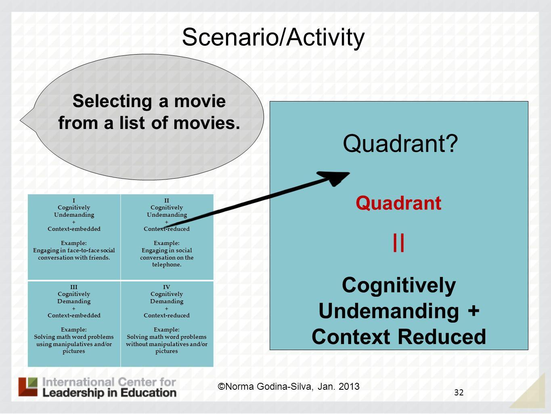 II Scenario/Activity Quadrant