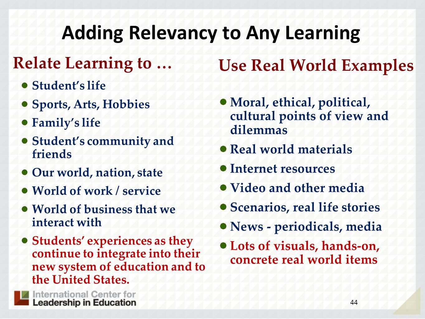 Adding Relevancy to Any Learning