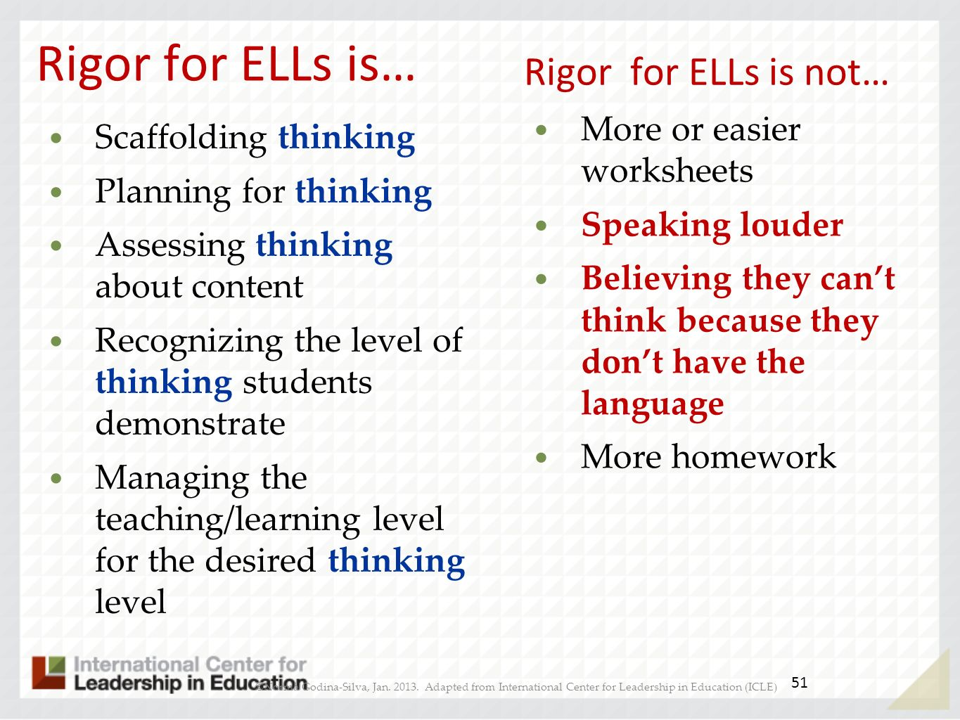 Rigor for ELLs is… Rigor for ELLs is not… More or easier worksheets