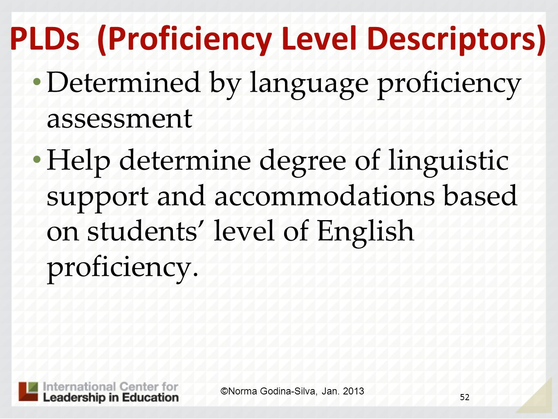 PLDs (Proficiency Level Descriptors)