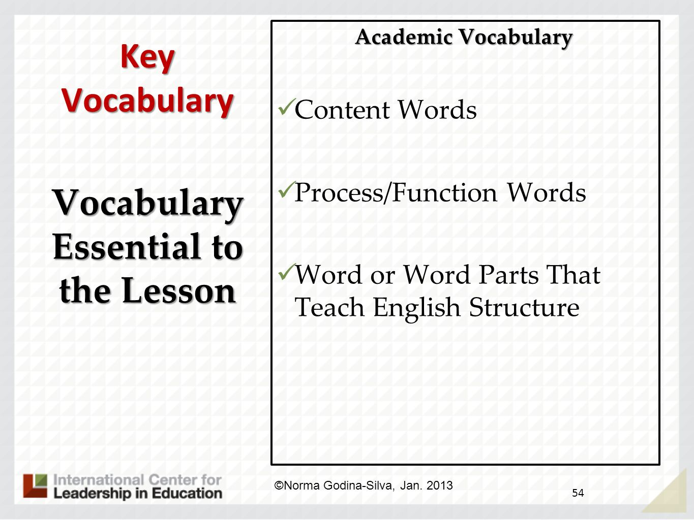 Vocabulary Essential to the Lesson