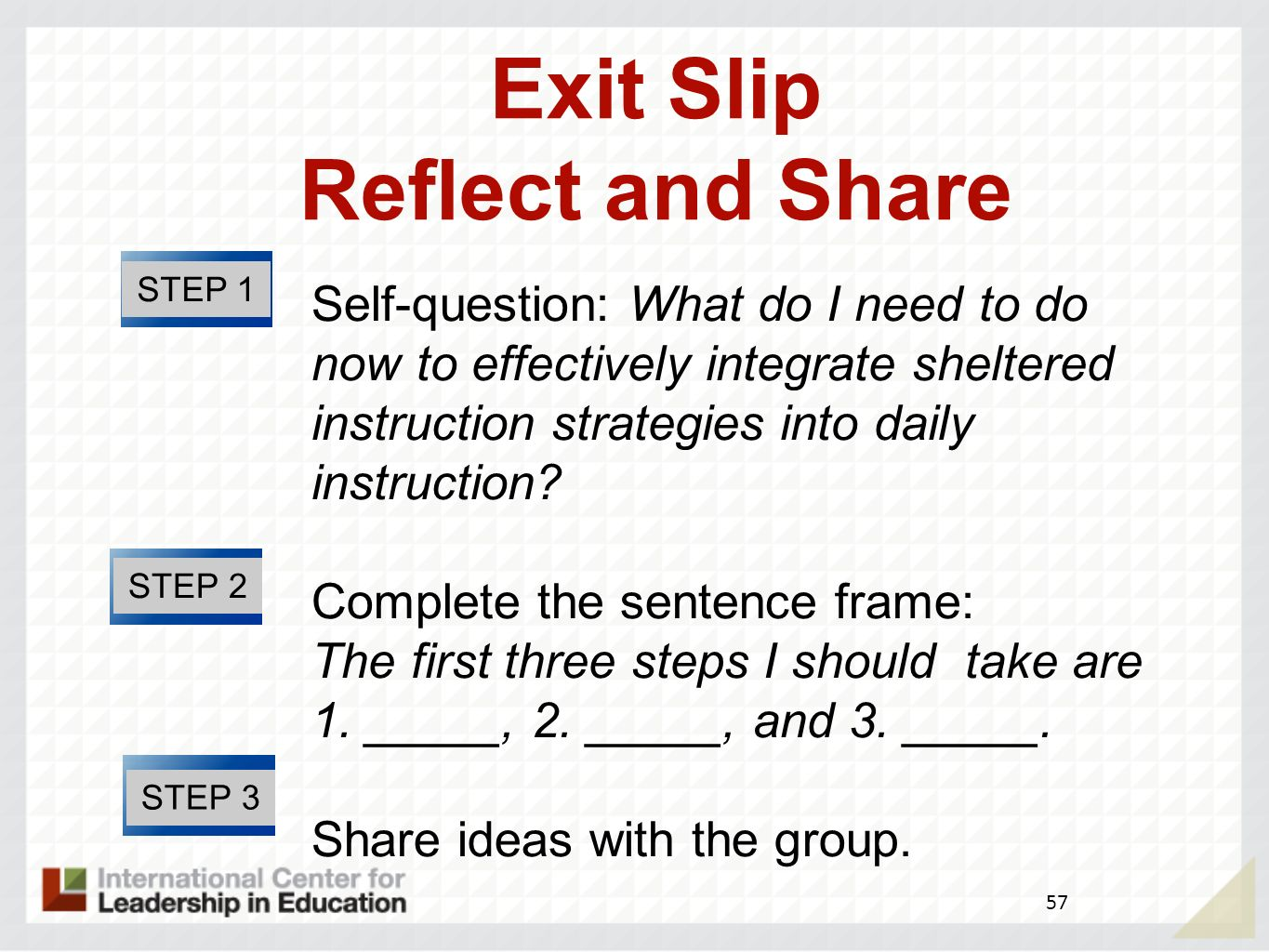 Exit Slip Reflect and Share