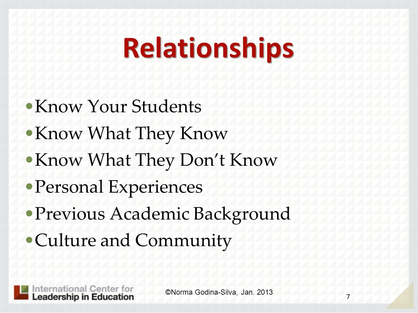 Relationships Know Your Students Know What They Know