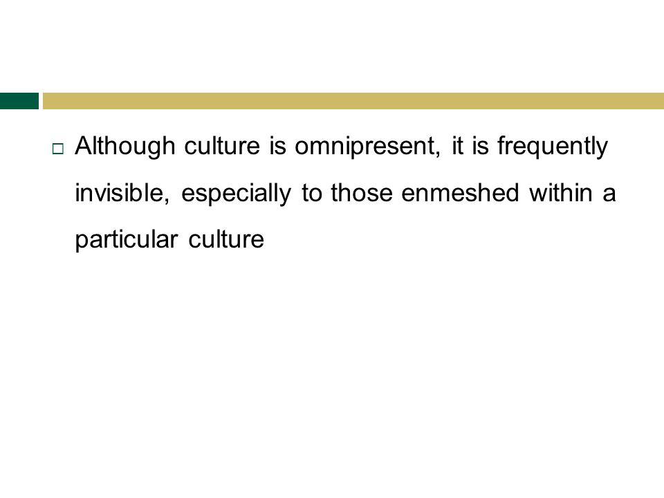 Although culture is omnipresent, it is frequently invisible, especially to those enmeshed within a particular culture