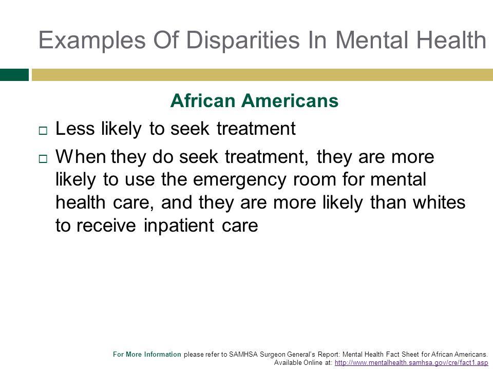 Examples Of Disparities In Mental Health