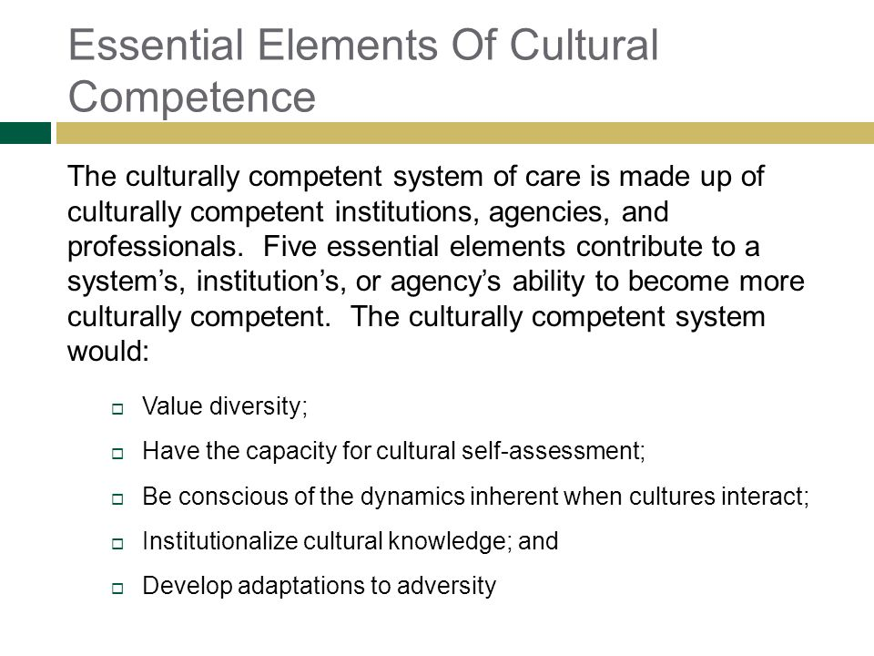 Essential Elements Of Cultural Competence
