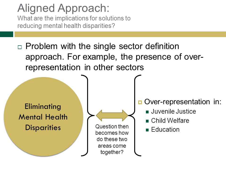 Aligned Approach: What are the implications for solutions to reducing mental health disparities
