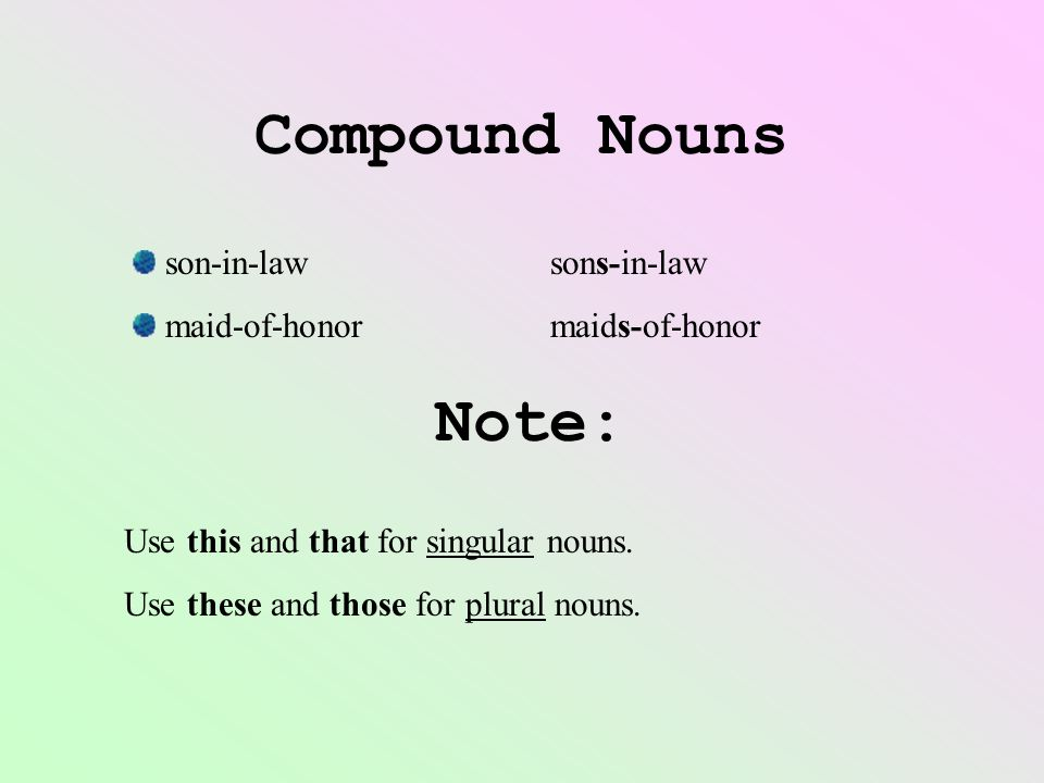 Compound Nouns Note: son-in-law sons-in-law