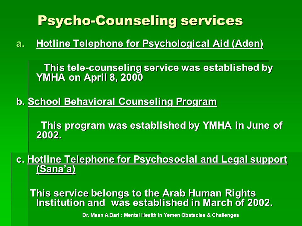 Psycho-Counseling services