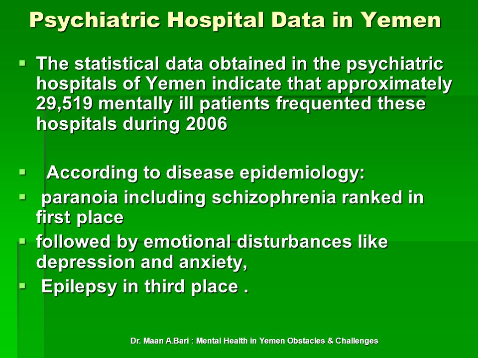 Psychiatric Hospital Data in Yemen