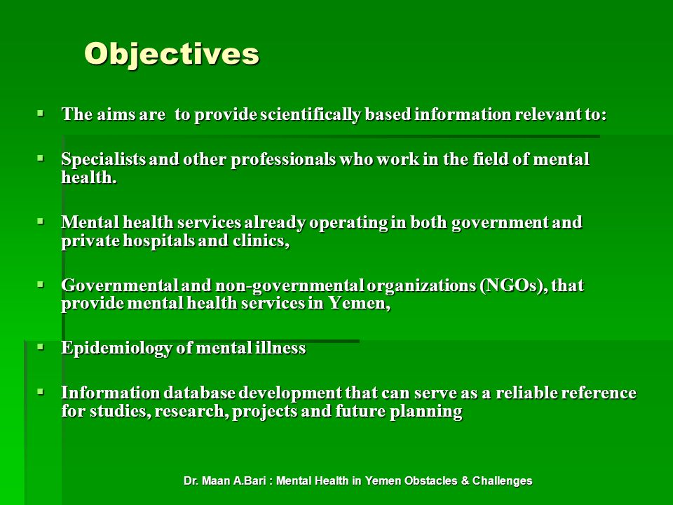 Dr. Maan A.Bari : Mental Health in Yemen Obstacles & Challenges