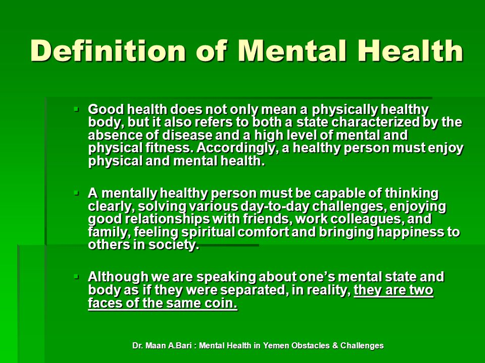 Definition of Mental Health