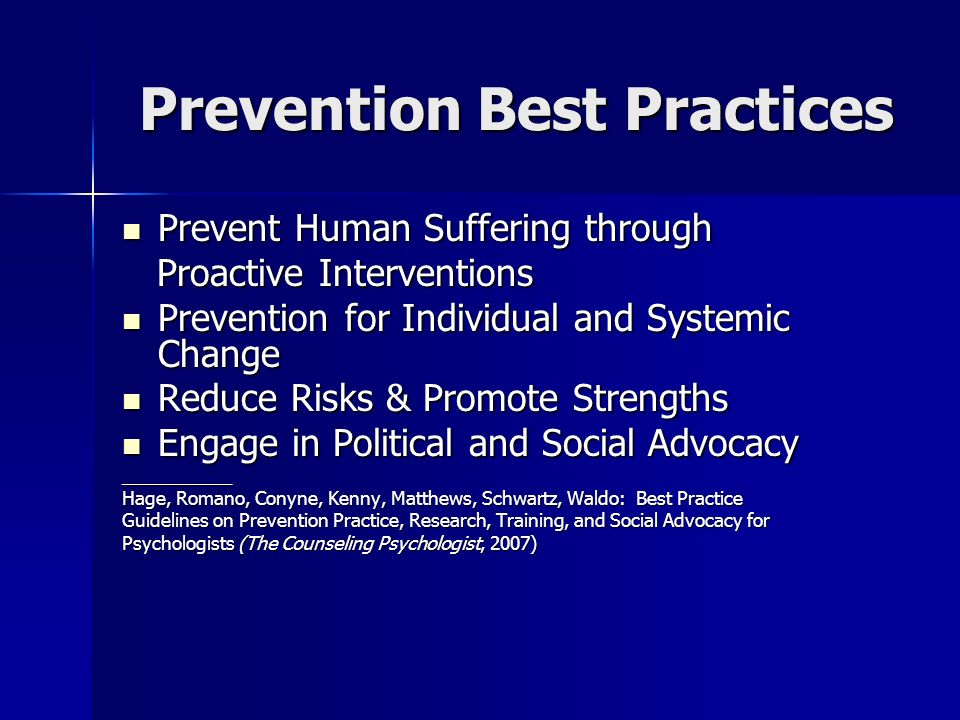 Prevention Best Practices