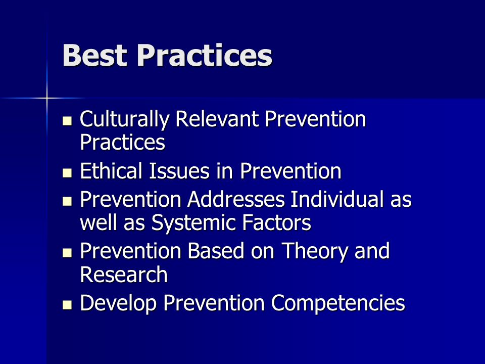 Best Practices Culturally Relevant Prevention Practices