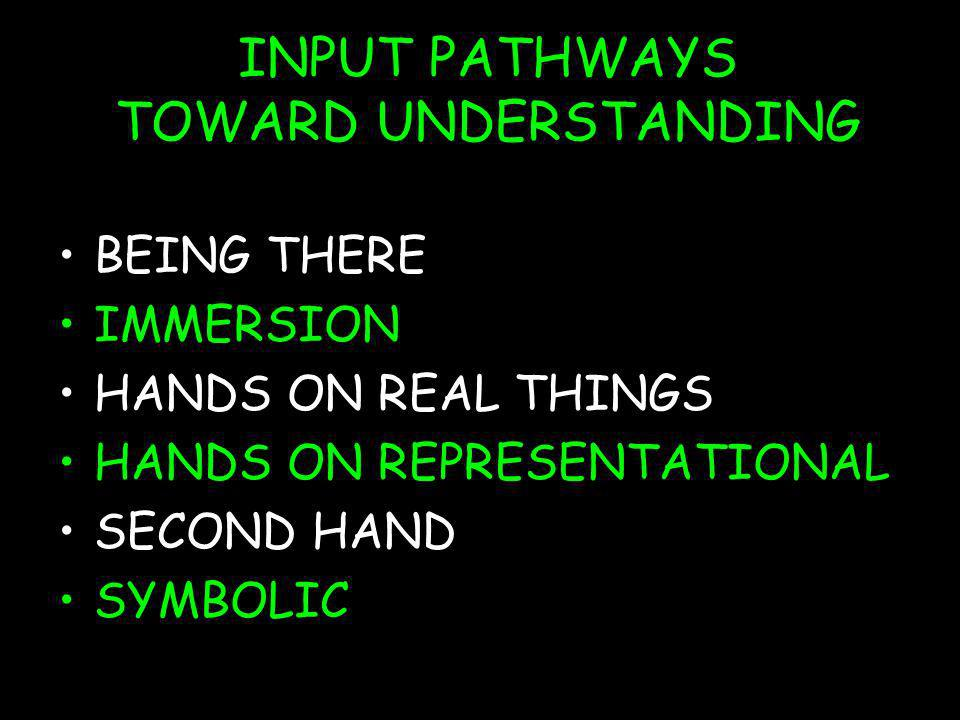 INPUT PATHWAYS TOWARD UNDERSTANDING