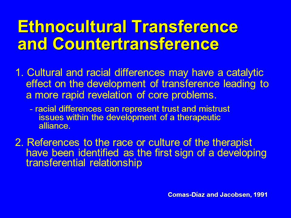 Ethnocultural Transference and Countertransference