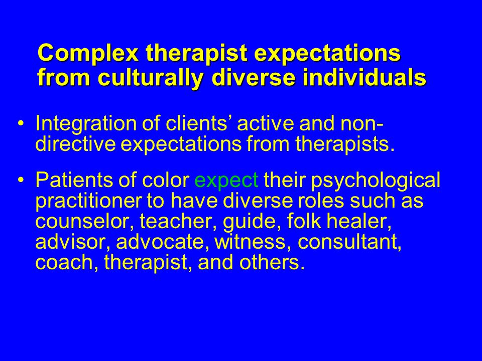 Complex therapist expectations from culturally diverse individuals