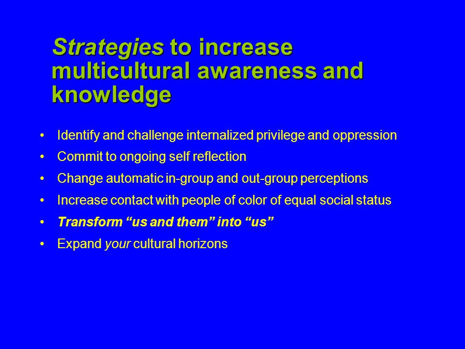 Strategies to increase multicultural awareness and knowledge
