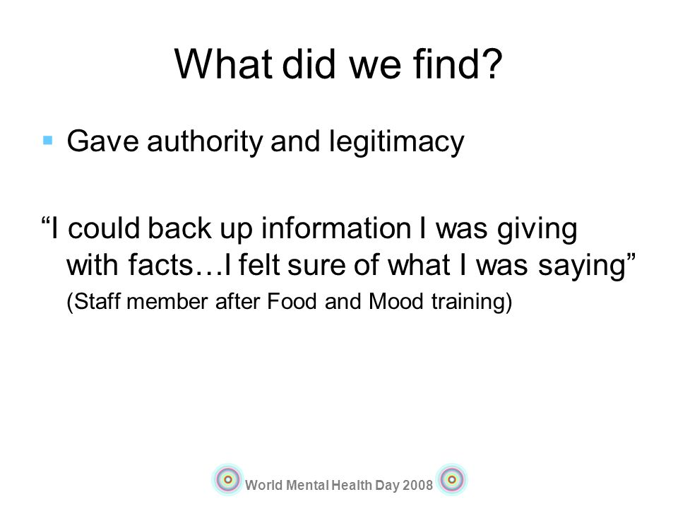 What did we find Gave authority and legitimacy