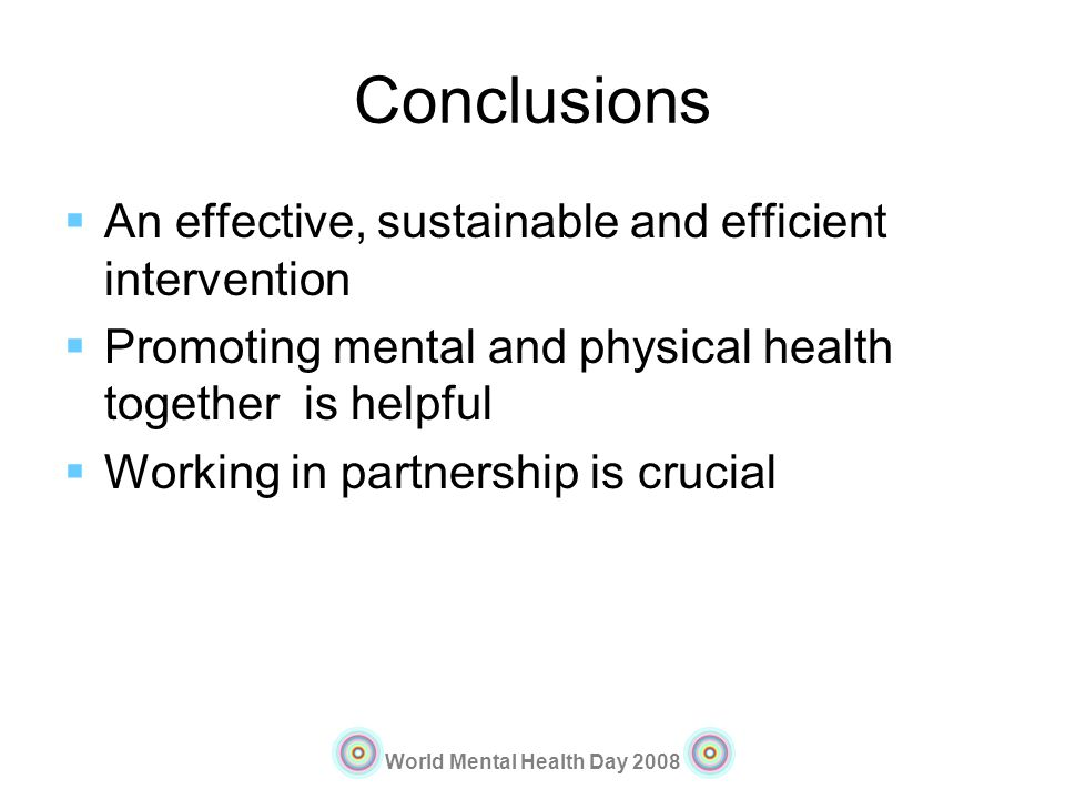 Conclusions An effective, sustainable and efficient intervention