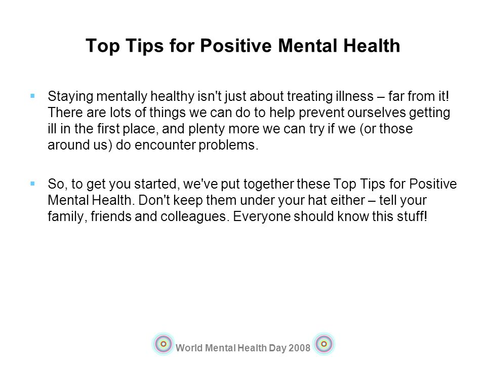 Top Tips for Positive Mental Health