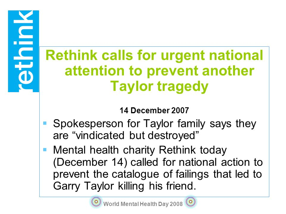 Rethink calls for urgent national attention to prevent another Taylor tragedy