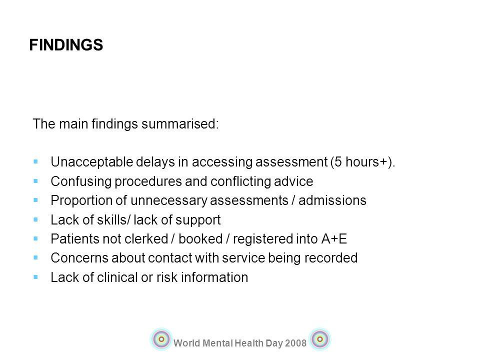 FINDINGS The main findings summarised: