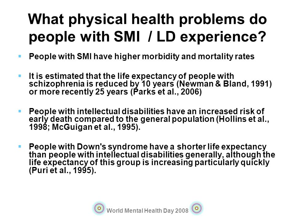 What physical health problems do people with SMI / LD experience