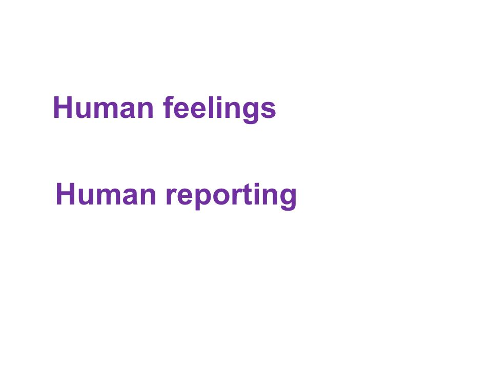 Human feelings Human reporting