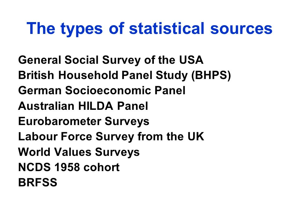 The types of statistical sources