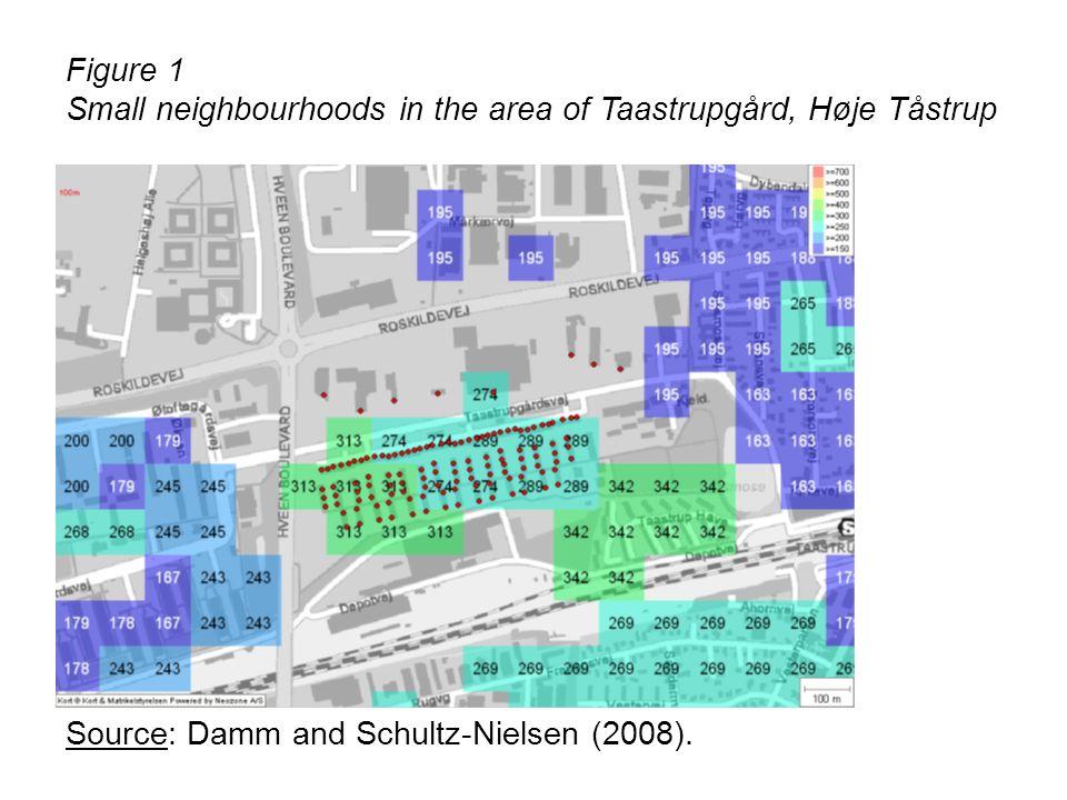 Figure 1 Small neighbourhoods in the area of Taastrupgård, Høje Tåstrup.