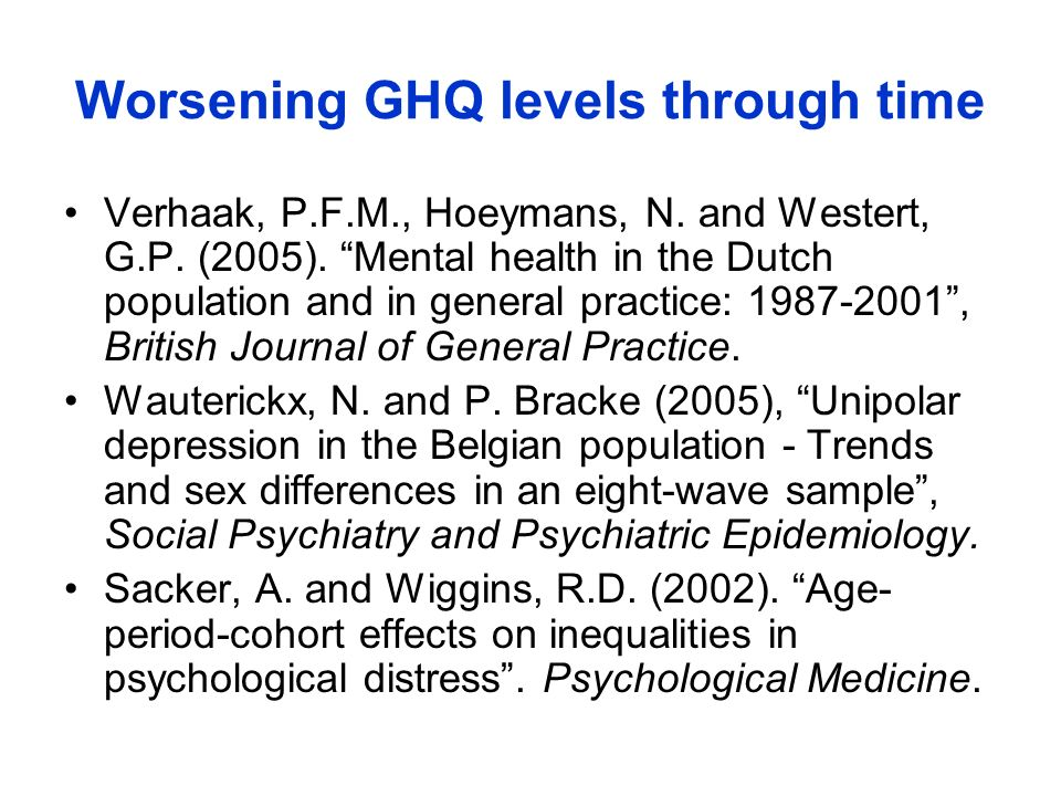 Worsening GHQ levels through time