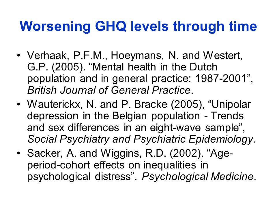 Worsening GHQ levels through time