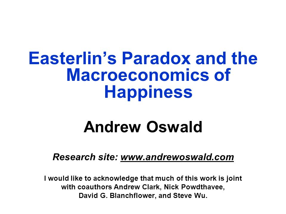 Easterlin's Paradox and the Macroeconomics of Happiness