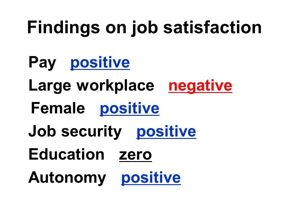 Findings on job satisfaction