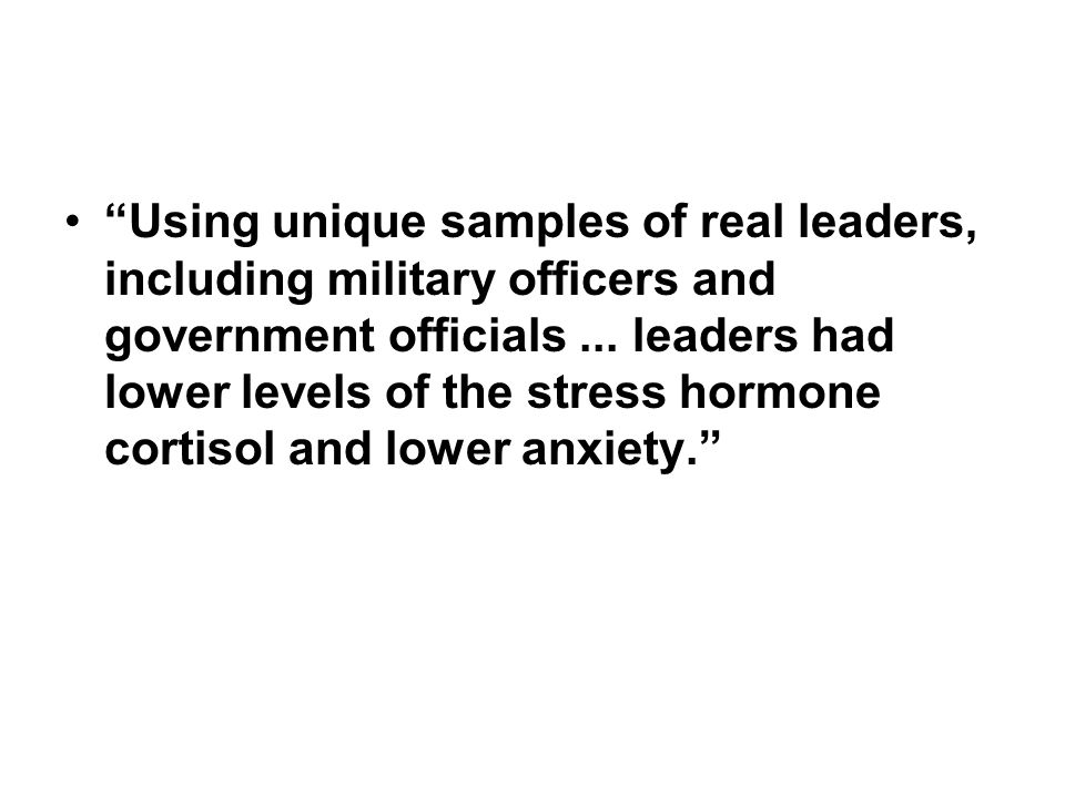 Using unique samples of real leaders, including military officers and government officials ...