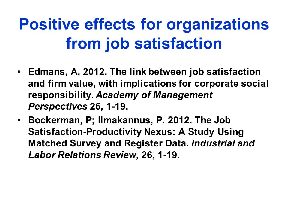 Positive effects for organizations from job satisfaction