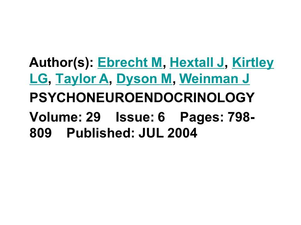 Author(s): Ebrecht M, Hextall J, Kirtley LG, Taylor A, Dyson M, Weinman J