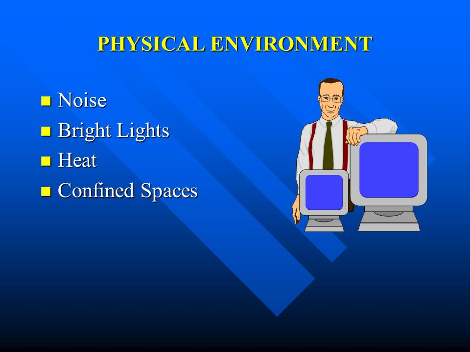 PHYSICAL ENVIRONMENT Noise Bright Lights Heat Confined Spaces