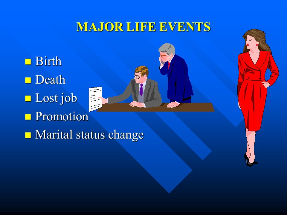 MAJOR LIFE EVENTS Birth Death Lost job Promotion Marital status change