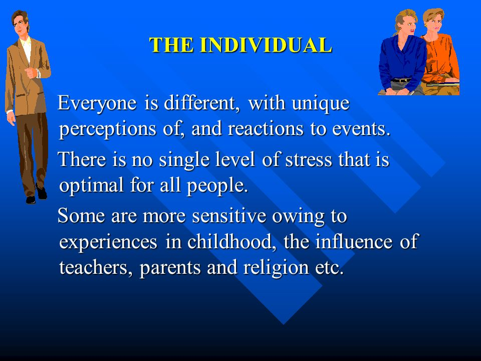 THE INDIVIDUALEveryone is different, with unique perceptions of, and reactions to events.